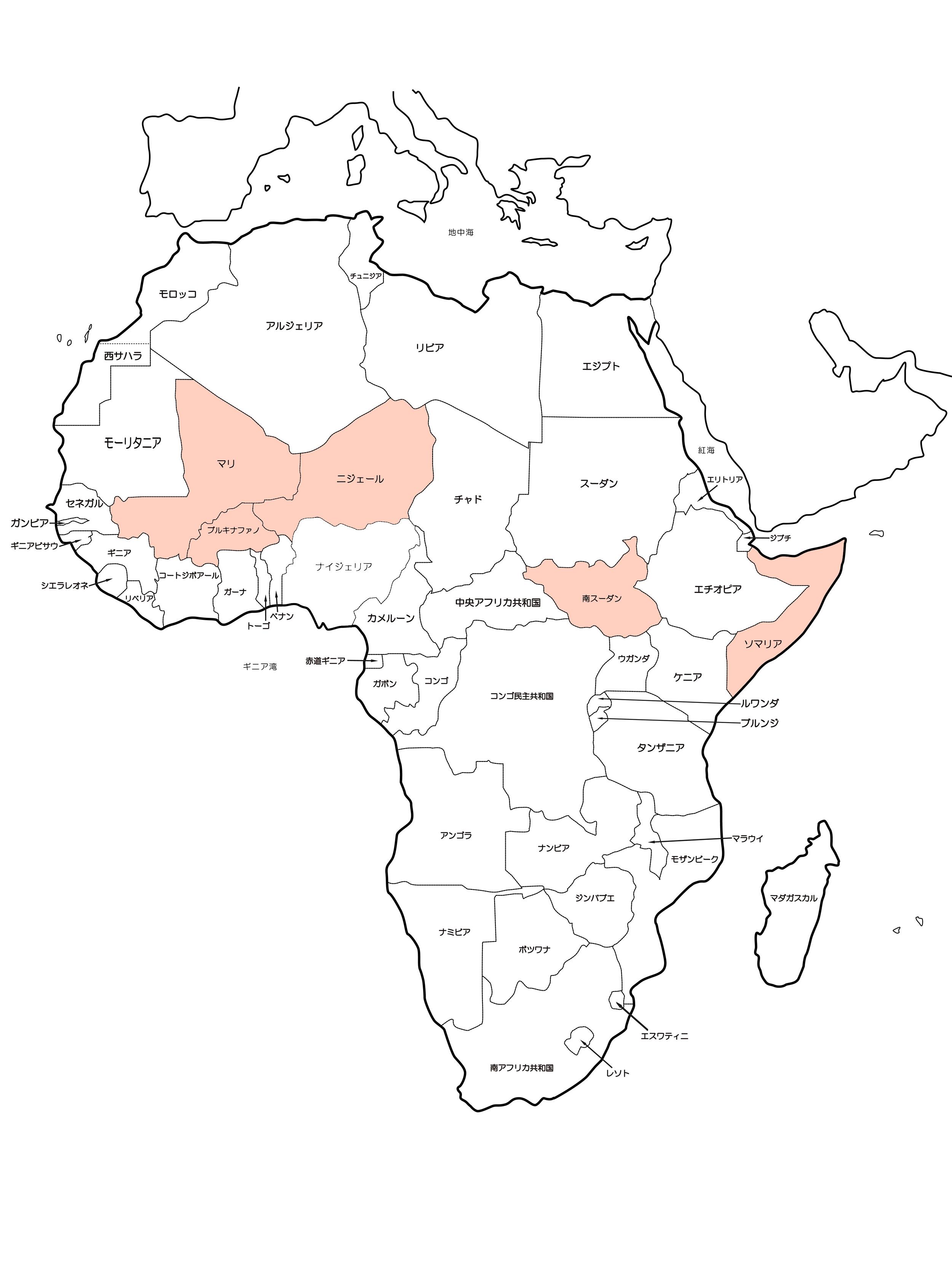 アフリカの地図