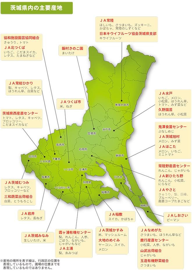 茨城県内の主要産地の画像