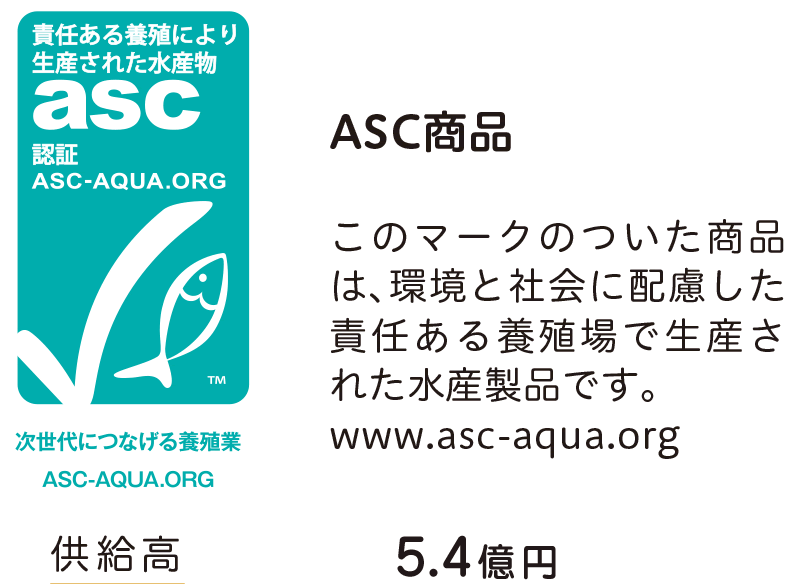 ASC商品 このマークのついた商品 は、環境と社会に配慮した 責任ある養殖場で生産さ れた水産製品です。 www.asc-aqua.org
